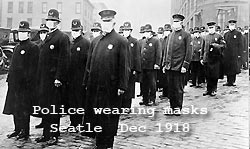 Police weraring masks, Seatle Dec 1918