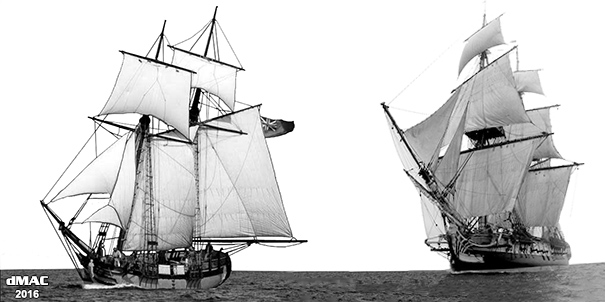 Leyden & French brigantine