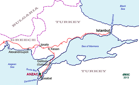 Map of Gallipoli